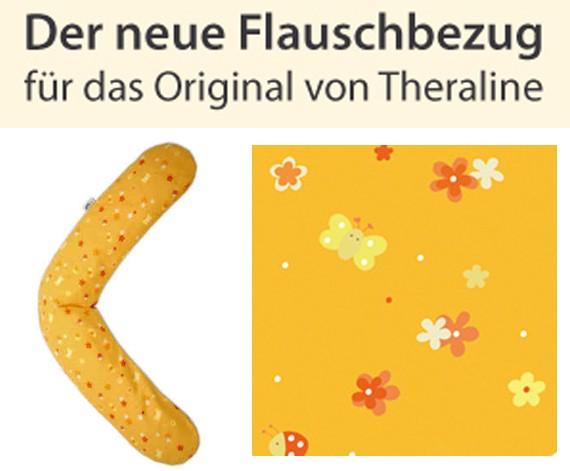 Stillkissenflauschbezug 190x38 - Blumenwiese orange - 86
