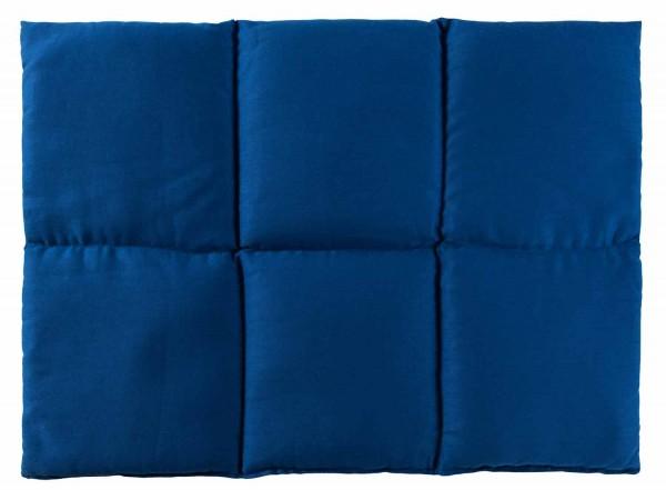 Körnerkissen 6-Kammer 40x30cm, Bio-Stoff enzianblau