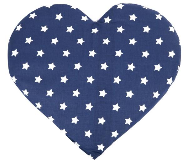 Leinsamen Wärmekissen Herz Sterne-blau