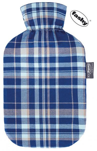 fashy Wärmflasche 2l mit karo Bezug dunkelblau