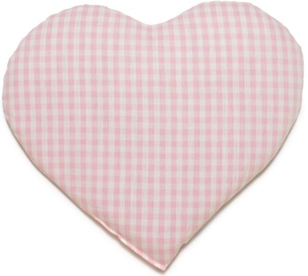 Körnerkissen Herz ca 30x25cm, Bio-Stoff rosa-weiß