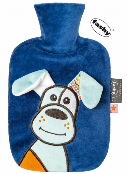 Baby Wärmflasche dunkelblau-hund