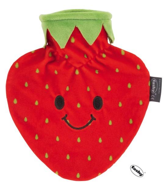 Wärmflasche 0,8L mit Bezug Erdbeere herzförmig