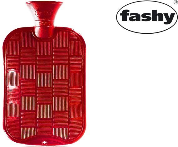 Wärmflasche 2.0l Karo-Halblamelle rot 6436