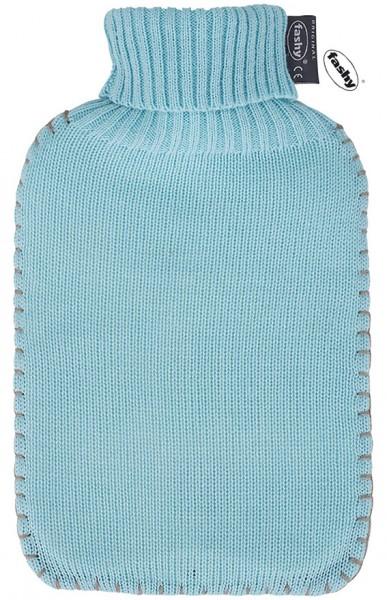 fashy Wärmflasche 2l mit Strickbezug hellblau