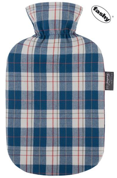 Wärmflasche und Wärmflaschenbezug Schottendesign blau