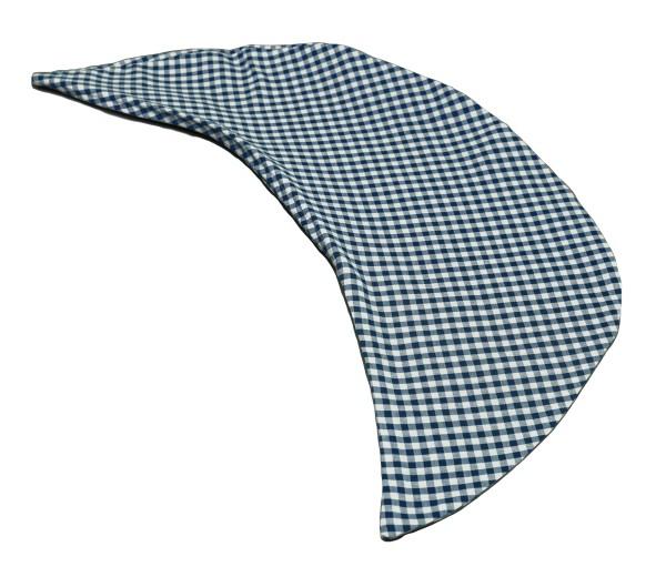 Kissenbezug Halbmond Bio-Stoff blau-weiß kariert
