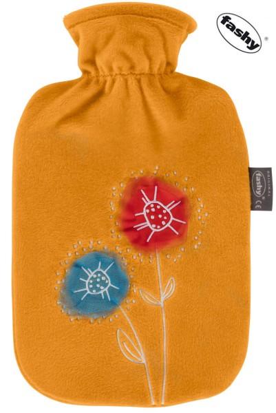 Wärmflasche im Flauschbezug Blumen