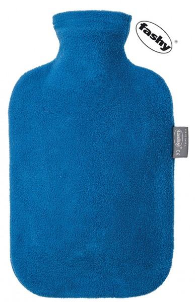 fashy Wärmflasche mit Fleece Bezug blau