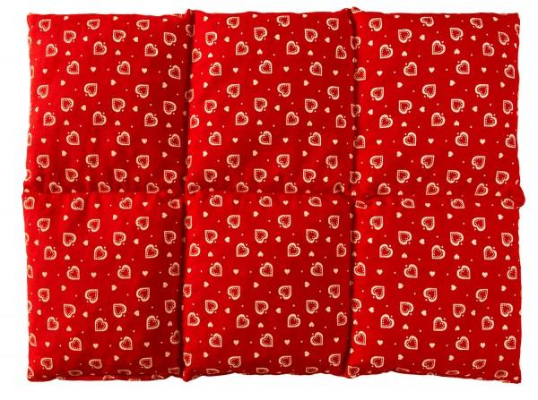 Körnerkissen 6-Kammer 40x30cm, Herzen-rot