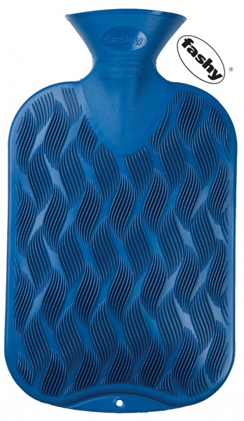 fashy Wärmflasche Wellenkaro blau 2l