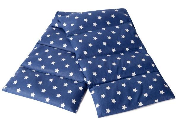 Extra langes Leinsamenkissen - Sterne-blau