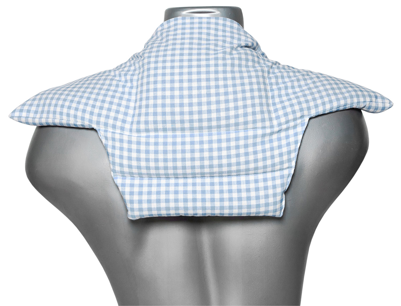 Bio Nacken Komfort Wärmekissen hellblau-weiß