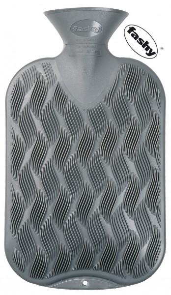 fashy Wärmflasche Wellenkaro grau 2l