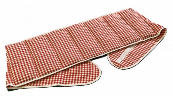 7-Kammer Kissen mit Klettverschluss, Bio-Stoff rot-weiß