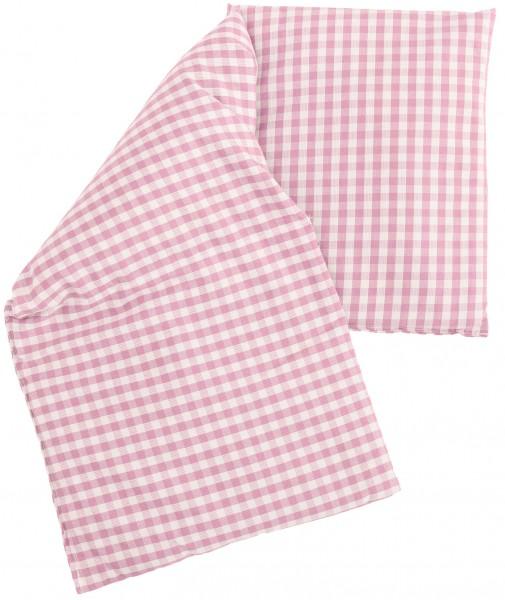 Leinsamenkissen Bio-Stoff rosa-weiß