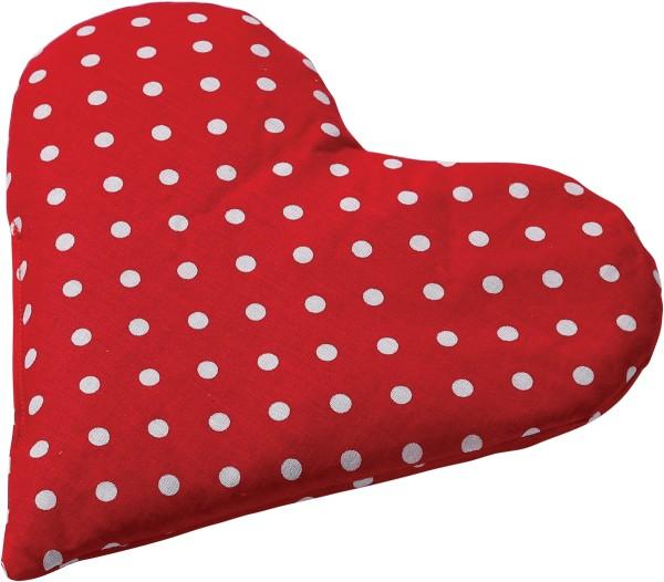 -> Traubenkernkissen Herz 23x23 Punkte rot-weiß