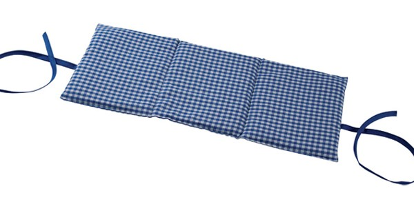 Körnerkissen 3-Kammer mit Band 20x50 Karo blau