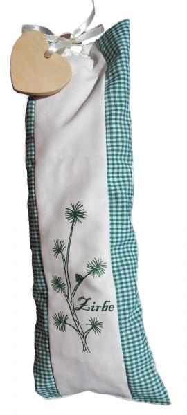 Zirbenholz-Duftkissen 13x35cm Bio-Stoff grün-weiß + Holzherz