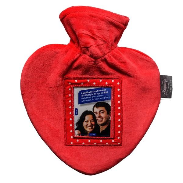 Wärmflasche Herz mit Bezug 0.7l mit Fotorahmen 6511