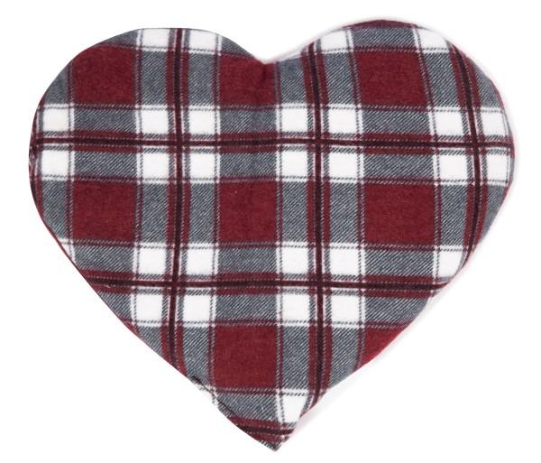 Körnerkissen Herz Flanell karo rot