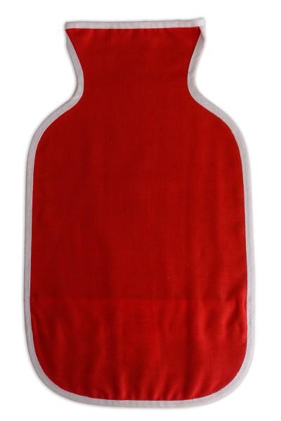 Wärmflaschenbezug Bio rot - oben offen