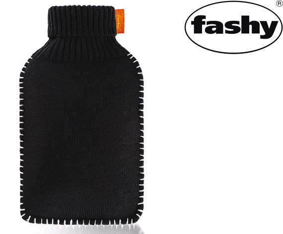 Wärmflasche mit Rollkragen-Strickbezug 2.0l schwarz 6715