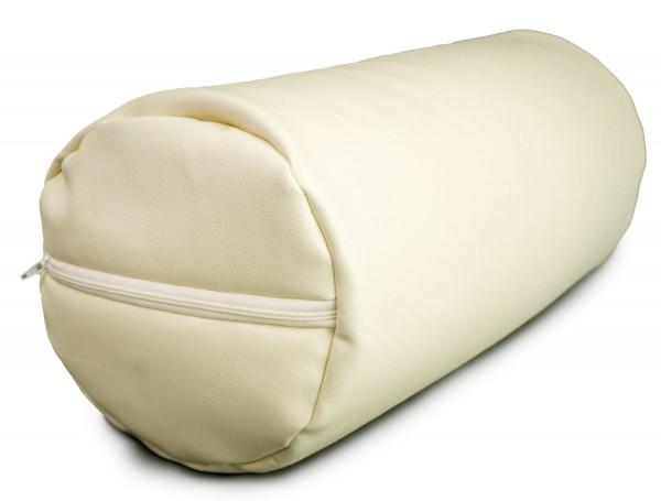 Knie- und Nackenrolle Lederimitat Bio-Dinkelspelz 40x22x18cm beige