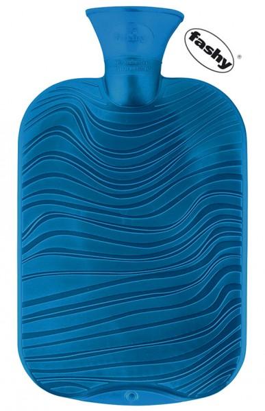 fashy Wärmflasche doppelseitiges Wellendekor 2l blau