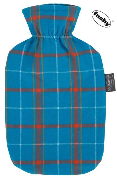 Wärmflasche und Wärmflaschenbezug Schottendesign hellblau