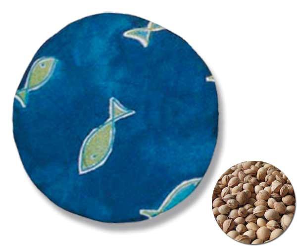 Kirschkernkissen Rund Motiv: Fische Blau ca. Ø 19cm