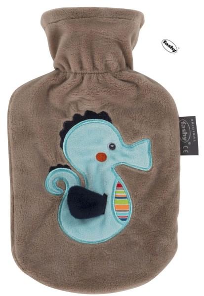 """Kinder und Baby-Wärmflasche 0.8l mit Flauschbezug Seepferdchen """"Susi"""""""