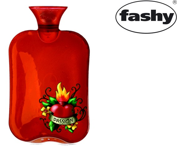-> Wärmflasche 2.0l Halblamelle transparent rot 6226 Motiv Passion