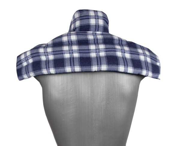 Schulter & Nackenkissen mit Kragen, Flanell karo-blau