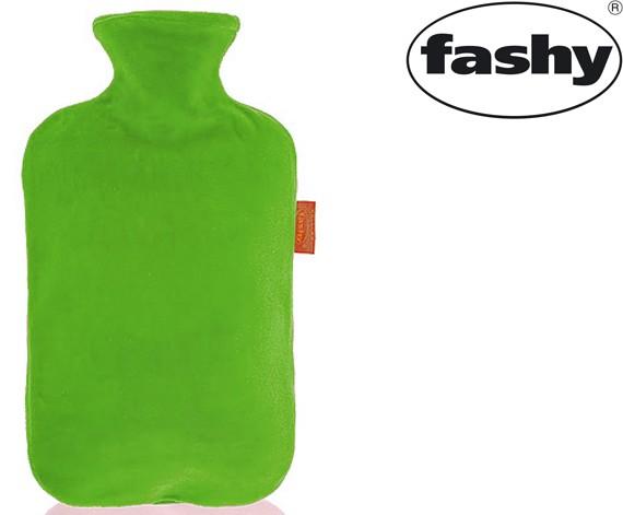 Wärmflasche mit Nicki-Velour Bezug grün 2.0l 6712