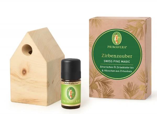 -> Geschenkset Zirbenzauber - Ätherisches Öl Zirbelkiefer bio + 1 Häuschen aus Zirbenholz