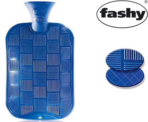 Wärmflasche 2.0l Karo-Halblamelle blau 6436